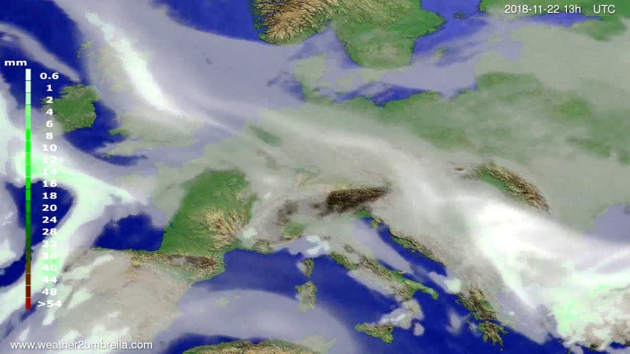 Precipitation forecast Europe 2018-11-19