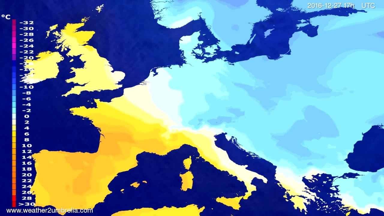 Temperature forecast Europe 2016-12-25