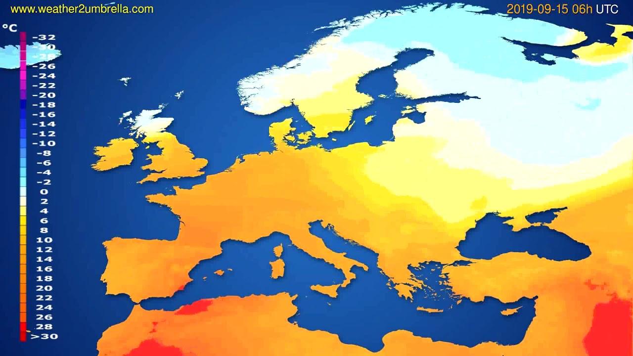 Temperature forecast Europe // modelrun: 12h UTC 2019-09-12