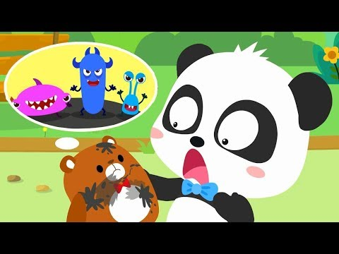 Bad Germs on the Bear Doll | Super Bubble Rangers | Doctor Pretend Play | Kids Good Habits | BabyBus