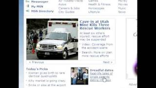 Video of the msn.com homepage where links must be double clicked to open.