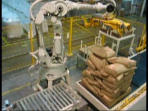 Robotic Bag Palletisers with Slip Sheet, Bottom Tray and Top