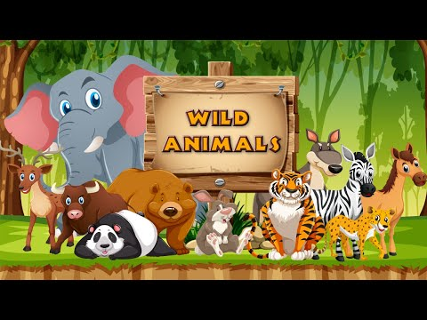 Wild Animals Names And Sounds For Kids To Learn in English | Wild animals for Children