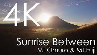 空撮 大室山と富士山の間からの日の出 [4K]