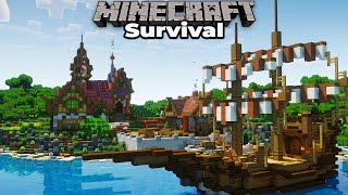 Building the Village Docks and Medieval Boat in Minecraft 1.15 Survival Let's Play