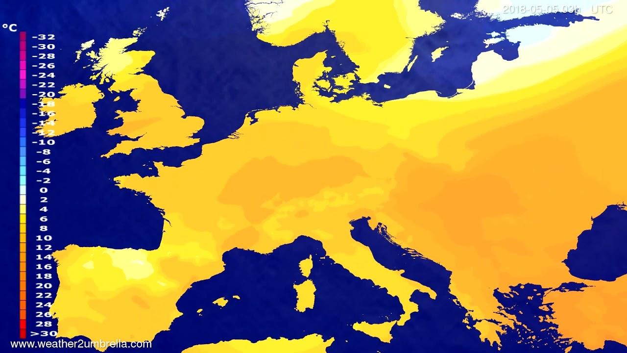 Temperature forecast Europe 2018-05-02