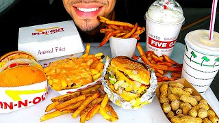ASMR IN N OUT BURGER VS FIVE GUYS BURGERS AND FRIES JERRY NO TALKING MUKBANG 먹방