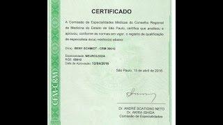 Registro de qualificação de Especialista em NEUROLOGIA, pelo Conselho Regional de Medicina (CRM). Ab
