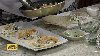 Chef Ramses of Las Palmas Restaurant spices up plate with Garlic Shrimp Taco