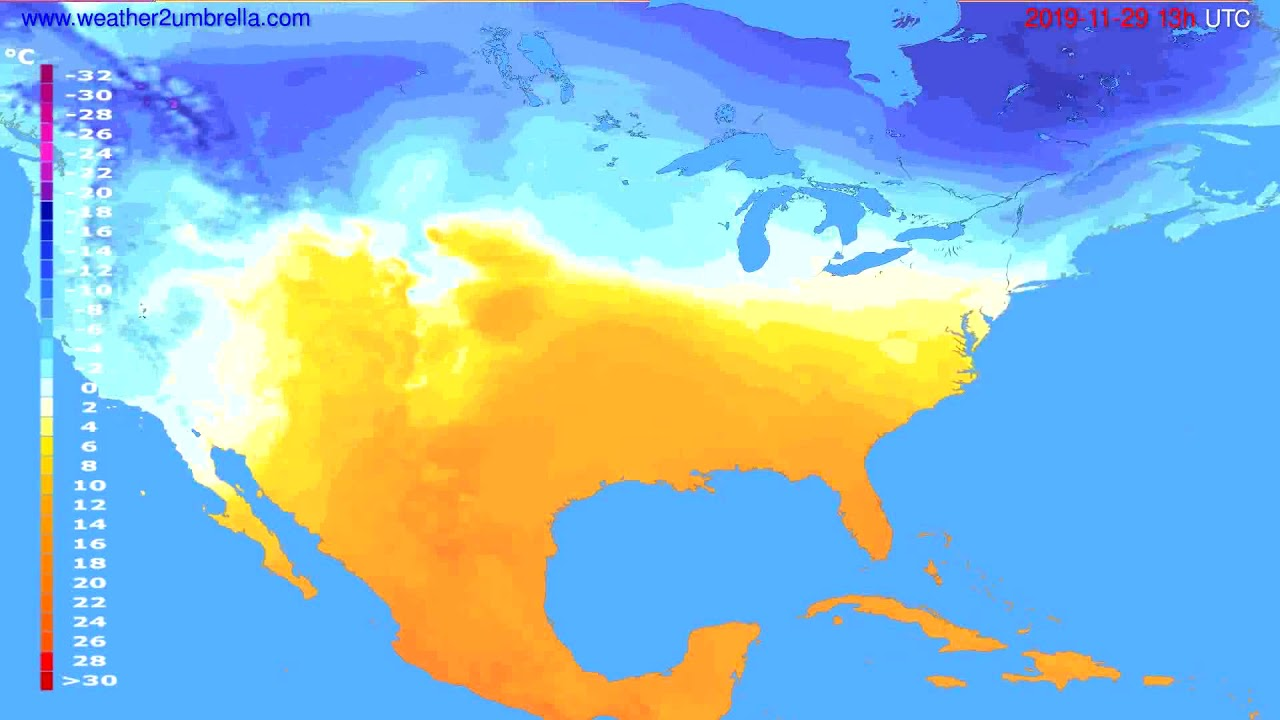 Temperature forecast USA & Canada // modelrun: 12h UTC 2019-11-27