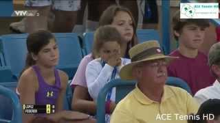 Roger Federer Daughter one of the Federer twins claps for Roger winning the first set at the Cincy tennis tournament.