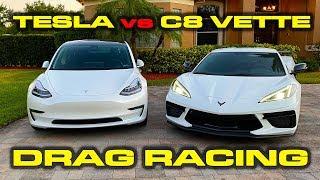STRADMANS C8 CORVETTE vs TESLA * 2020 Corvette vs Tesla Model 3 Performance * PLUS C8 TESTS by DragTimes