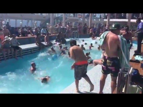 Cruise Ship Swimming Pool During Rough Seas