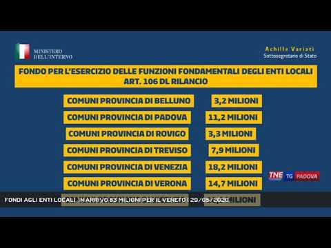 FONDI AGLI ENTI LOCALI, IN ARRIVO 83 MILIONI PER IL VENETO   29/05/2020