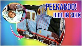 HIDE N GO SEEK Baby Josiah Hides in the Thomas & Friends Tent (Peek a Boo)