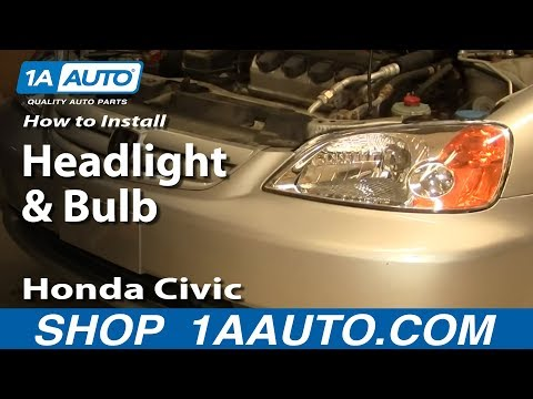 How To Install Replace Headlight and Bulb Honda Civic Sedan 01-03 1AAuto.com