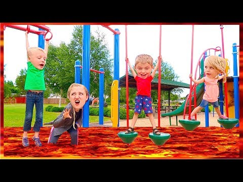 The Floor Is LAVA! With Lava MONSTER! At The Park! (видео)