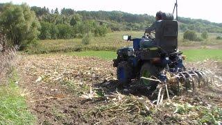 Минитрактор из мотоблока. Уборка кукурузы.