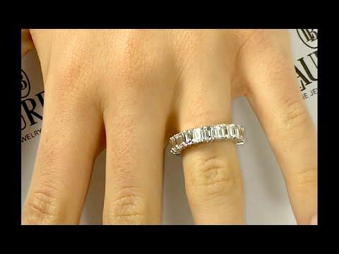 7+ carat Emerald Cut Diamond Eternity Ring in Platinum