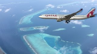 Start and landing of a Qatar Airways Airbus A330 in Male, Maldives.....Watch the Paradise Islands of Maldives just before landing .