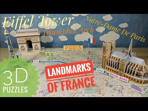 3D puzzle Paris Eiffel Tower Triumphal Arch Notre-Dame Geography of France Europe for kids