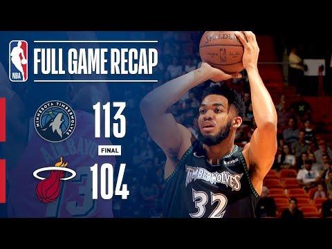 Video: Full Game Recap: Timberwolves vs Heat | KAT Stuffs The Stat Sheet