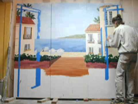 Morgan paints a mural - time lapse (circa 2002)