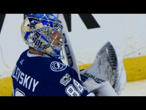Video: Andrei Vasilevskiy stretches across to rob Nick Schmaltz