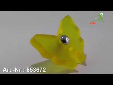 Möbelknopf Heinsberg, Tier, Kinder, Schmetterling, Glaseffekt matt - Gelb - Art. Nr.: 653672