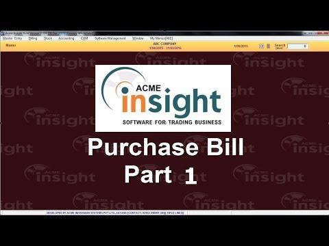 Purchase Bill Part 1
