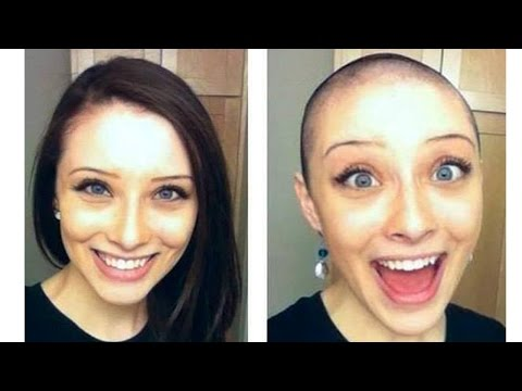 Long to Bald Haircut - Long Hair to Bald Girl (Bald Head Girls)