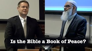 Is the Bible a Book of Peace?Interactive table of contents below.A debate on October 6th, 2015 between Dr. David Wood and Dr. Shabir Ally at UTC Derthick Lecture Hall in Chattanooga Tennessee.00:22 Welcome05:21 Introduction07:54 Dr. David Wood's opening statement28:19 Dr. Shabir Ally's opening statement49:11 Dr. David Wood's First rebuttal1:01:36 Dr. Shabir Ally's first rebuttal1:08:52 Attack on Previous Sarcasm1:15:03 Dr. David Wood's Second rebuttal1:23:17 Dr. Shabir Ally's Second rebuttal1:31:48 Dr. Dr. David Wood's Conclusion1:37:03 Dr. Shabir Ally's Conclusion1:43:25 Q&A