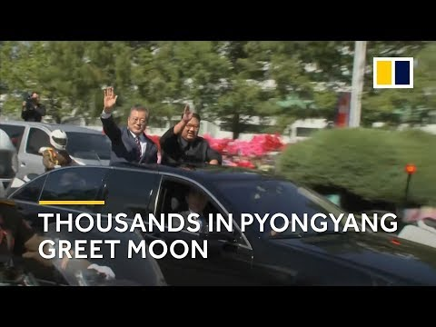 Thousands in Pyongyang, North Korea greet Moon Jae-in