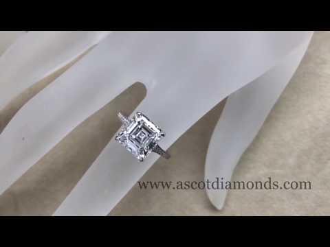 Asscher Cut Diamond Solitaire Diamond Band Engagement Ring