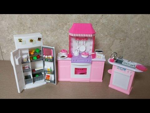 Unboxing Barbie Kitchen Set By Gloria Barbie Size Dollhouse