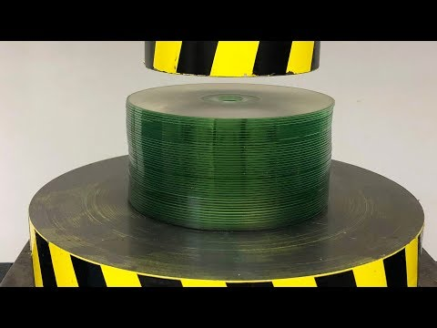 EXPERIMENT HYDRAULIC PRESS 100 TON Vs Stack Of 50 CD's