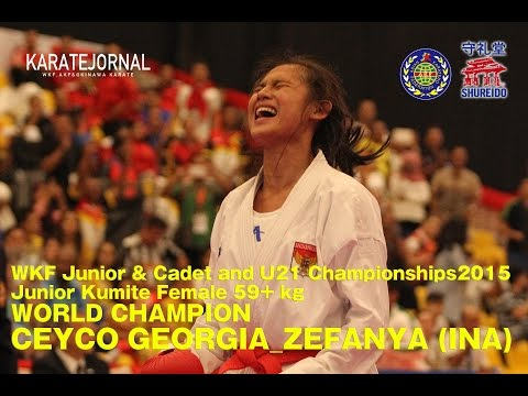 WKF2015 Junior Kumite Female 59+ kg World champion CEYCO GEORGIA_ZEFANYA (INA)