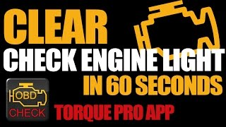 Short video how to Clear check engine light in 60 seconds using Torque Pro app. Bonus: Torque Pro app sensor list._____DISCLAIMER:This is not a sponsored video. I'm not associated with any company or seller.This may not be the professional or the right way to do it, although it works for me.Please use this tutorial at your own risk.I am not responsible for any damage whatsoever caused on your car or device._____Video uploaded by me to my channel 'Ryaniwk' - You have no right to copy and re-use this video without mentioning the channel URL and name on the video player._____Youtube link:https://youtu.be/W2EH93-Rc2M_____Keywords:Torque Pro Torque appClear check engine lineReset check engine lightTorque Pro appTorque Pro sensor list