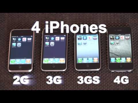 comparison - Side by side comparison of all four iPhone generations. Music: 
