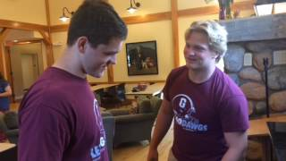 Grandville's Kyle Nyboer gives teammate Matt Kelly a quick piano lesson
