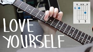 "Video How To Play ""Love Yourself"" Exactly Like The Recording PART I - Justin Bieber, Easy Guitar Lesson MP3, 3GP, MP4, WEBM, AVI, FLV September 2018"