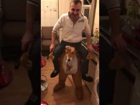 My crazy  kangaroo carrying me ! :)) (funny video)