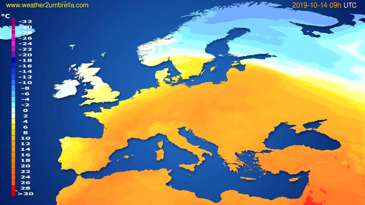 Temperature forecast Europe // modelrun: 00h UTC 2019-10-12