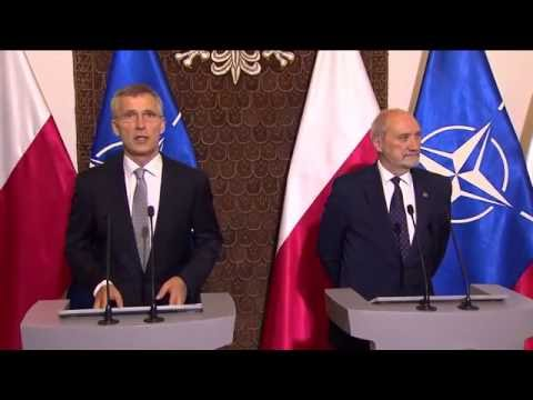 NATO Secretary General with Minister of Defence of Poland