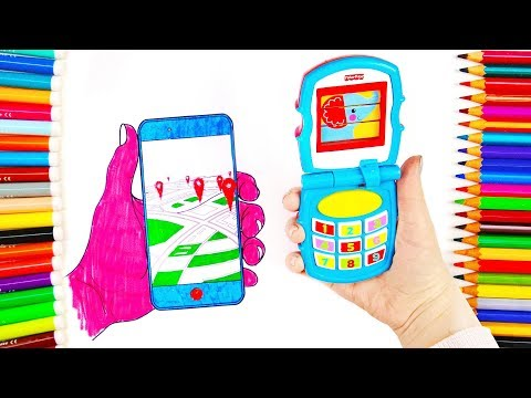 Learn Colors With Drawing Toy Cars Gingerbread Man Phone Coloring Book for Kids