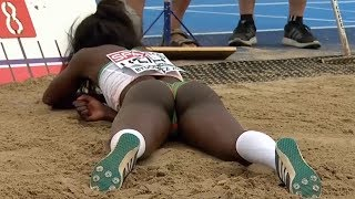 Evelise Veiga finishes 5th at European U23 Championships 2017 in Bydgoszcz in Long Jump and is devastated, poor girl.