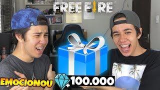 DEI O MELHOR PRESENTE COM OS 100.000 DIAMANTES E ELE SE EMOCIONOU NO FREE FIRE!