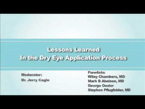 The Inaugural Dry Eye Summit 2010 Section: Lessons Learned in the Dry Eye Application Process