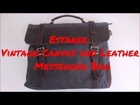 eStarer Vintage Canvas and Leather Laptop Messenger Bag