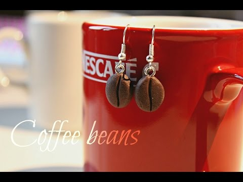 fimo - orecchini a forma di chicco di caffé